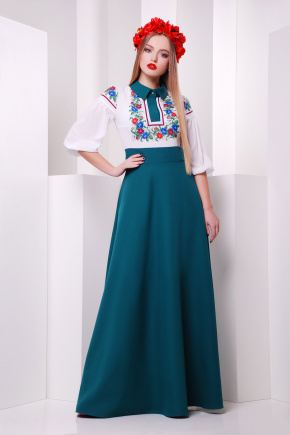 Цветы платье Валенсия д/р. Цвет: изумрудный