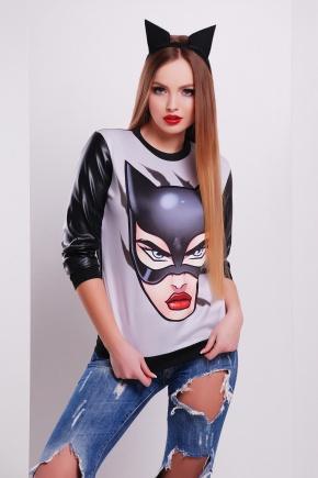 Cat woman кофта Свитшот №4 (весна) д/р. Цвет: принт-черная отделка