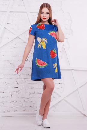 Фрукты-вышивка платье Тая-1 к/р. Цвет: принт
