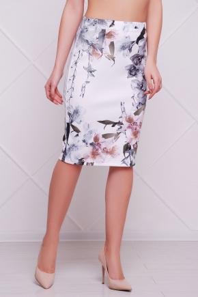 Орхидеи юбка мод. №14 Оригами. Цвет: принт