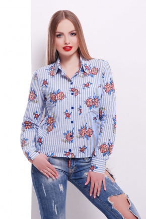 блуза Рипосто д/р. Цвет: синяя кр. полоска
