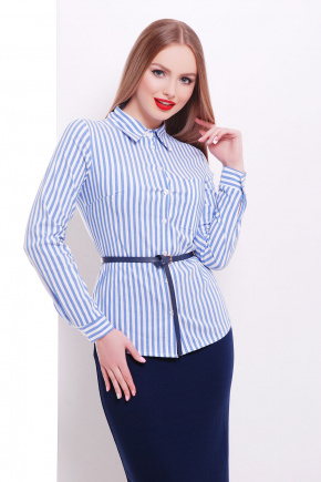 блуза Рубьера д/р. Цвет: белый-голубая полоска