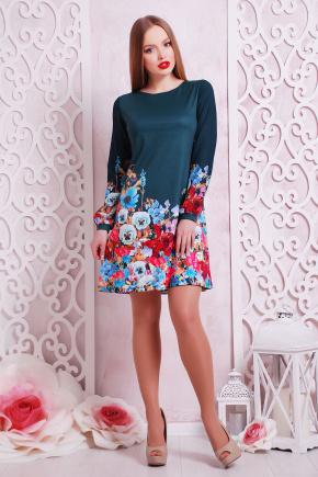 Фиалки платье Тана-1КД (креп) д/р. Цвет: зеленый