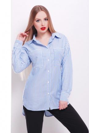 блуза Риканто д/р. Цвет: голубая м. полоска