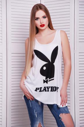 Playboy черный майка Классик. Цвет: принт