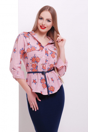 блуза Розара д/р. Цвет: красный-м.полоска-роза