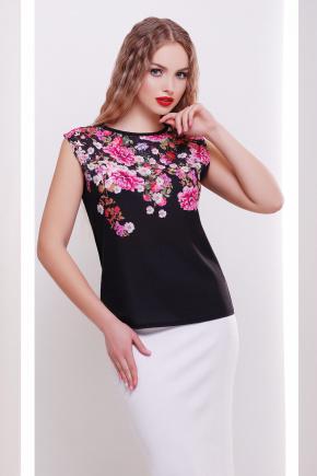Хризантемы черный футболка Киви б/р. Цвет: принт