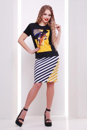 Полоска юбка мод. №14 Оригами. Цвет: принт