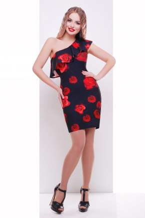Розы красные сарафан Риола. Цвет: черный