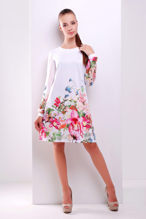 Белый букет платье Тана-1КД (шифон) д/р. Цвет: принт
