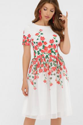 Красные цветы платье Мияна-КД к/р. Цвет: принт