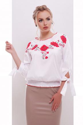 Маки блуза Иванка д/р. Цвет: белый