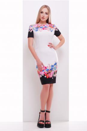 Цветочный букет платье Лана-1 к/р. Цвет: принт