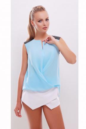 блуза Агата б/р. Цвет: голубой-черная отделка
