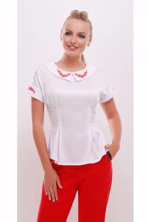 Цветы блуза Милада к/р. Цвет: белый-красная отделка