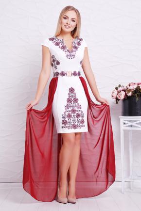 Бордо орнамент платье Аркадия б/р. Цвет: белый