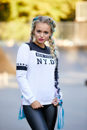 New York черный кофта Свитшот №1Ф (весна) д/р. Цвет: принт