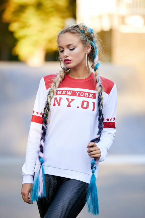 New York красный кофта Свитшот №1Ф (весна) д/р. Цвет: принт