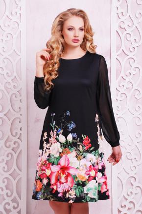 Черный букет платье Тана-3БФ (шифон) д/р. Цвет: принт