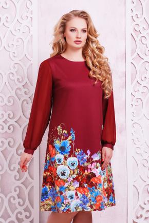 Бордовый букет платье Тана-3БФ (шифон) д/р. Цвет: принт