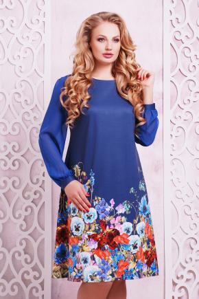 Индиго букет платье Тана-3БФ (шифон) д/р. Цвет: принт