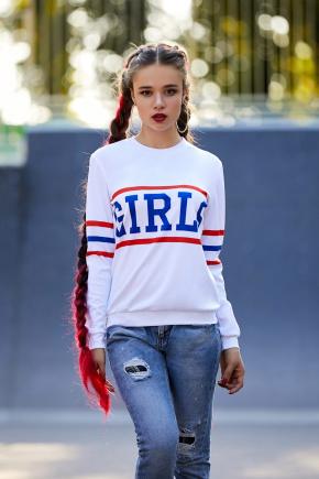Girls кофта Свитшот №3Ф (весна) д/р. Цвет: принт-белая отделка
