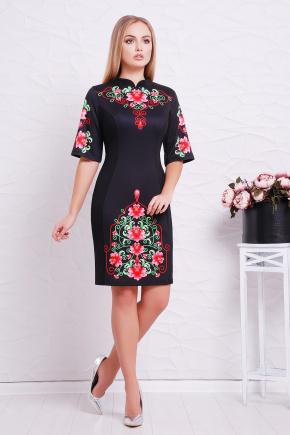Китайский пион платье Августина к/р. Цвет: черный