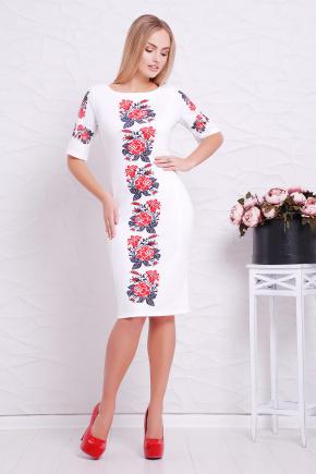 Вышивка-розы платье Пелагея к/р. Цвет: белый