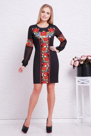 Красные маки платье Талина д/р. Цвет: черный