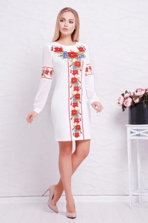 Красные маки платье Талина д/р. Цвет: белый