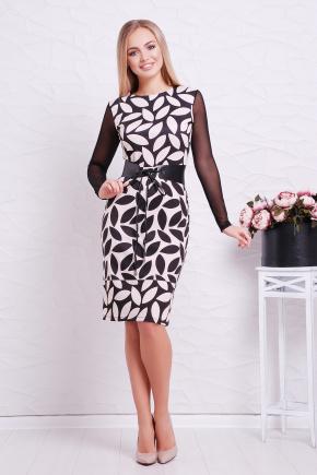 Бежевый лист платье Лоя-3ФСП д/р. Цвет: принт
