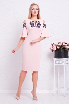 Узор черный платье Мариона к/р. Цвет: персик