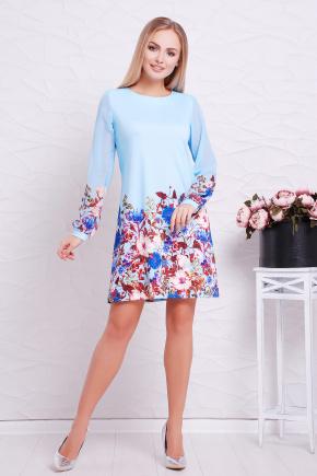 Букет голубой платье Тана-1Ф (шифон) д/р. Цвет: принт