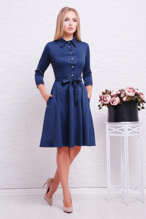 платье Ларена д/р. Цвет: синий-джинс