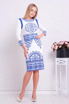 Синий орнамент платье Лия-1Ф д/р. Цвет: принт