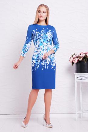 Синие цветы платье Лия-1Ф д/р. Цвет: принт