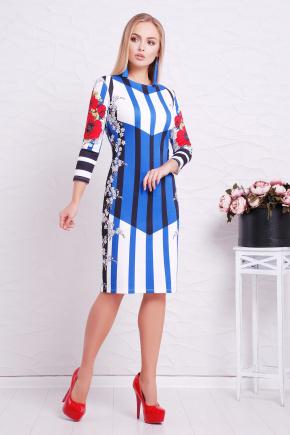 Полоска-маки платье Лия-1Ф д/р. Цвет: принт