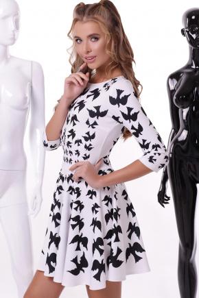 Птицы платье Флория-1П д/р. Цвет: белый