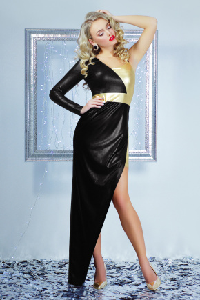 платье Злата макси. Цвет: черный-золото