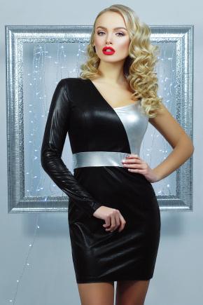 платье Злата мини. Цвет: черный-серебро