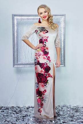 Цветы платье Цветана д/р. Цвет: бежевый