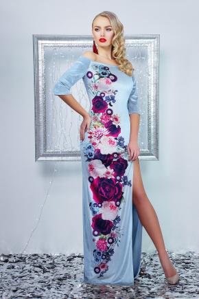 Цветы платье Цветана д/р. Цвет: голубой