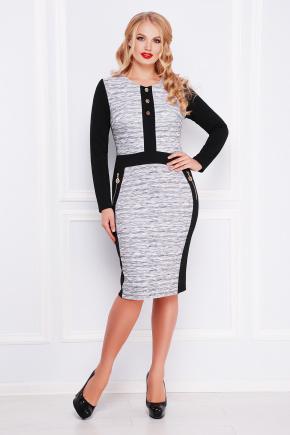 Меланж платье Анита-Б д/р. Цвет: принт-черная отделка