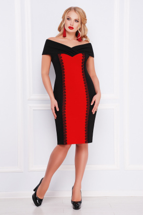 платье Аделина-Б б/р. Цвет: черный-красный