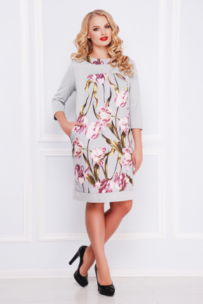 Тюльпан платье Матильда-Б д/р. Цвет: светло серый
