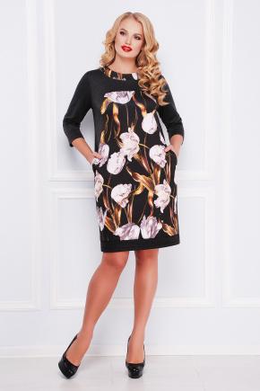 Тюльпан платье Матильда-Б д/р. Цвет: темно серый