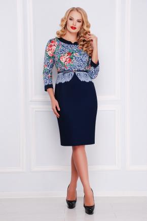 Кружево платье Аксинья-Б д/р. Цвет: темно синий