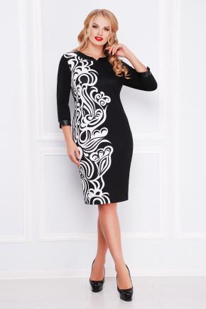 Белый узор платье Евгения-Б д/р. Цвет: принт-черная отделка