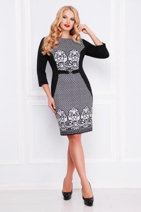 Кружево платье Джемма-Б д/р. Цвет: черный