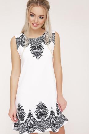 Узор черный платье Лада б/р. Цвет: белый